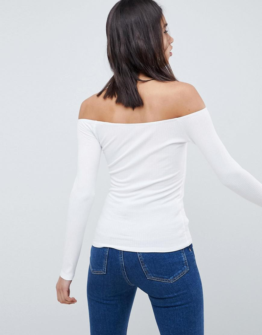 bd0760012ad Lyst - ASOS Off Shoulder Bardot Top In Rib In White in White