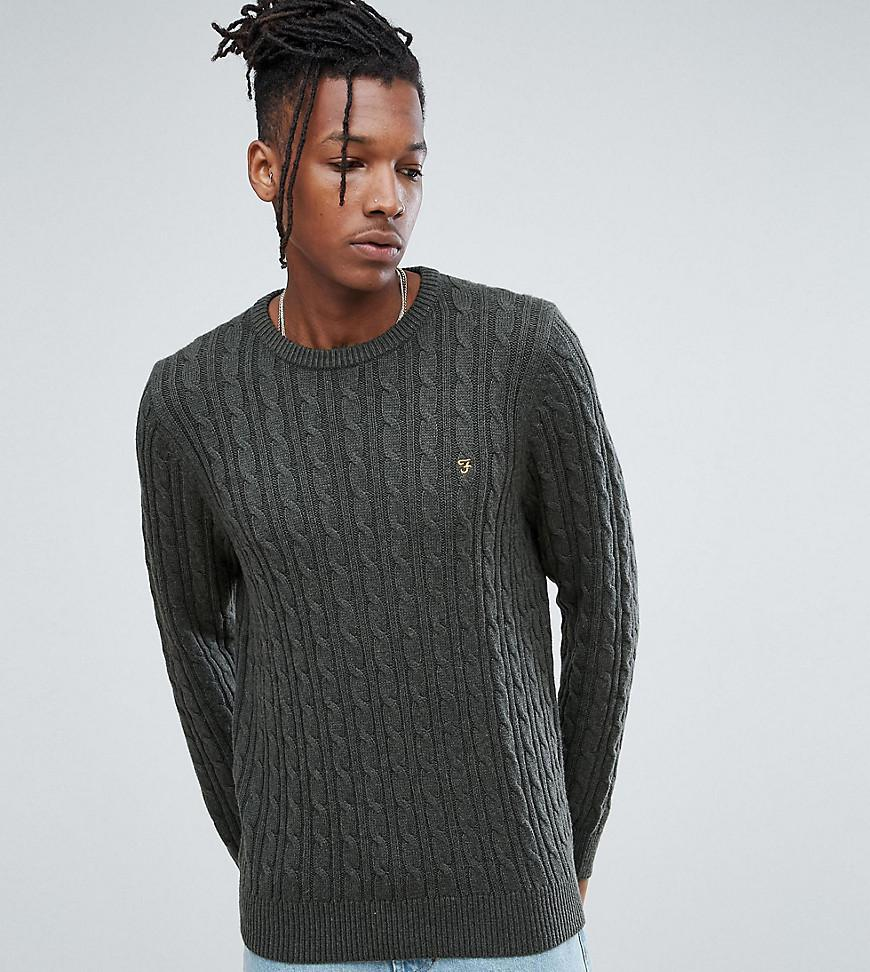 ab56b788394 Men's Ludwig Cable Knit Jumper In Green Marl