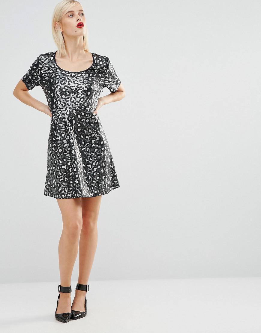 0c7e451e95 Love Moschino Sequin Leopard Skater Dress in Black - Lyst