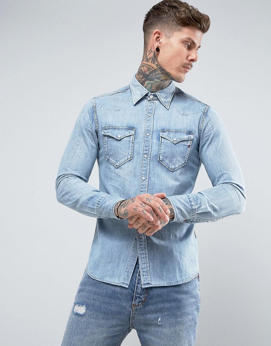 Lyst replay lightwash western denim shirt regular in for Replay blue jeans t shirt