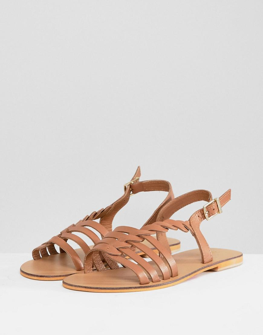 086a0a0be6f ASOS Wide Fit Flattered Leather Plaited T-bar Flat Sandals in Brown - Lyst