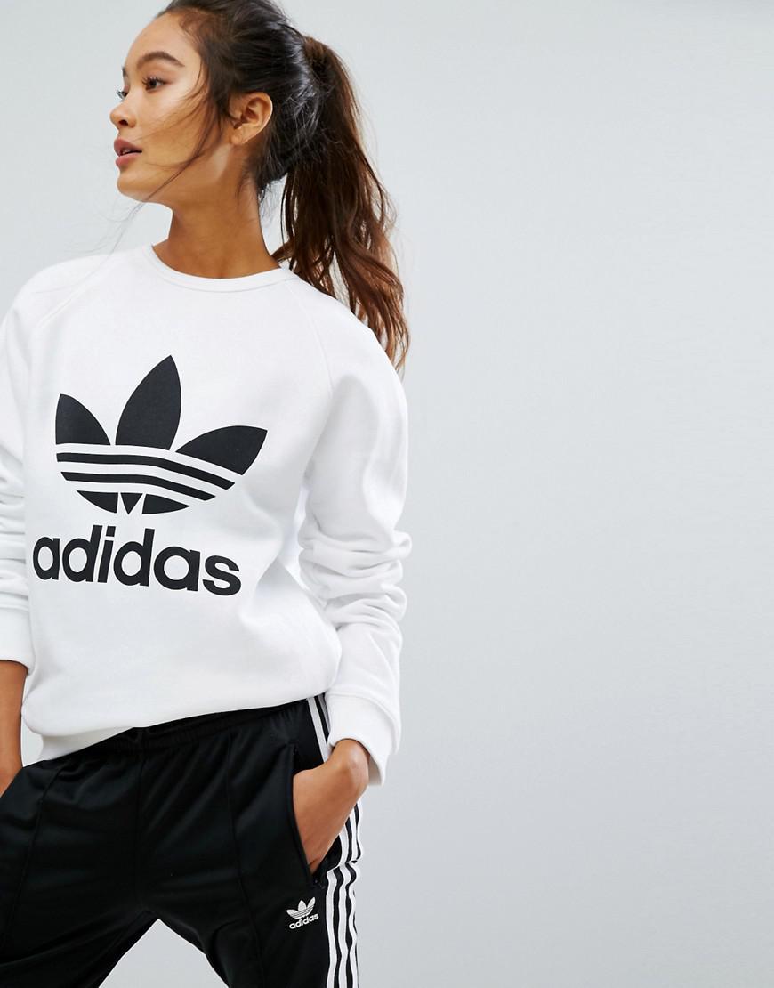 30158405 Adidas Originals White Originals Oversized Sweatshirt With Trefoil Logo