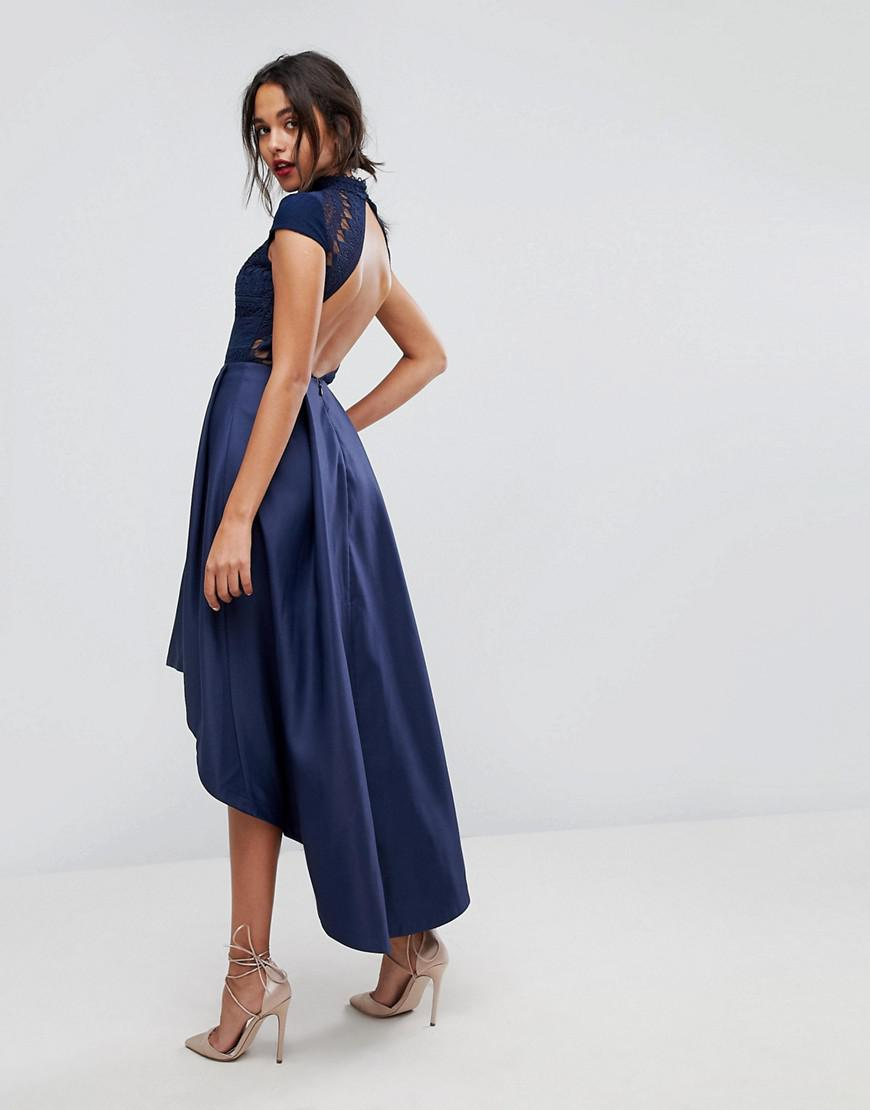 chi chi london high low midi dress with open back in blue. Black Bedroom Furniture Sets. Home Design Ideas