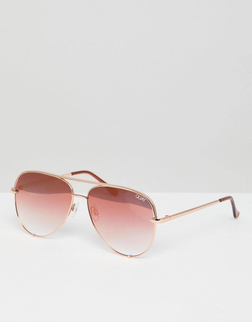 45fa437605f Quay - Metallic X Desi High Key Aviator Sunglasses In Rose Gold for Men -  Lyst. View fullscreen
