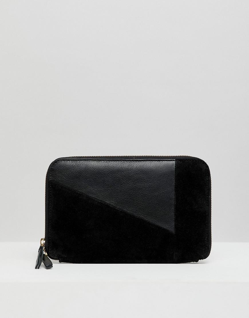 7daa5a13 Urbancode Zip Around Purse In Leather And Suede Mix in Black - Lyst