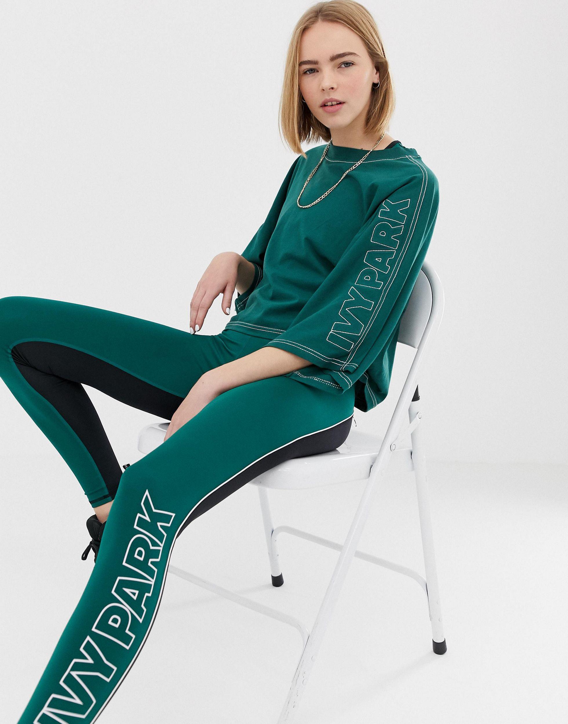 Stab - T-shirt court à manches kimono et surpiqûres Coton Ivy Park en coloris Vert