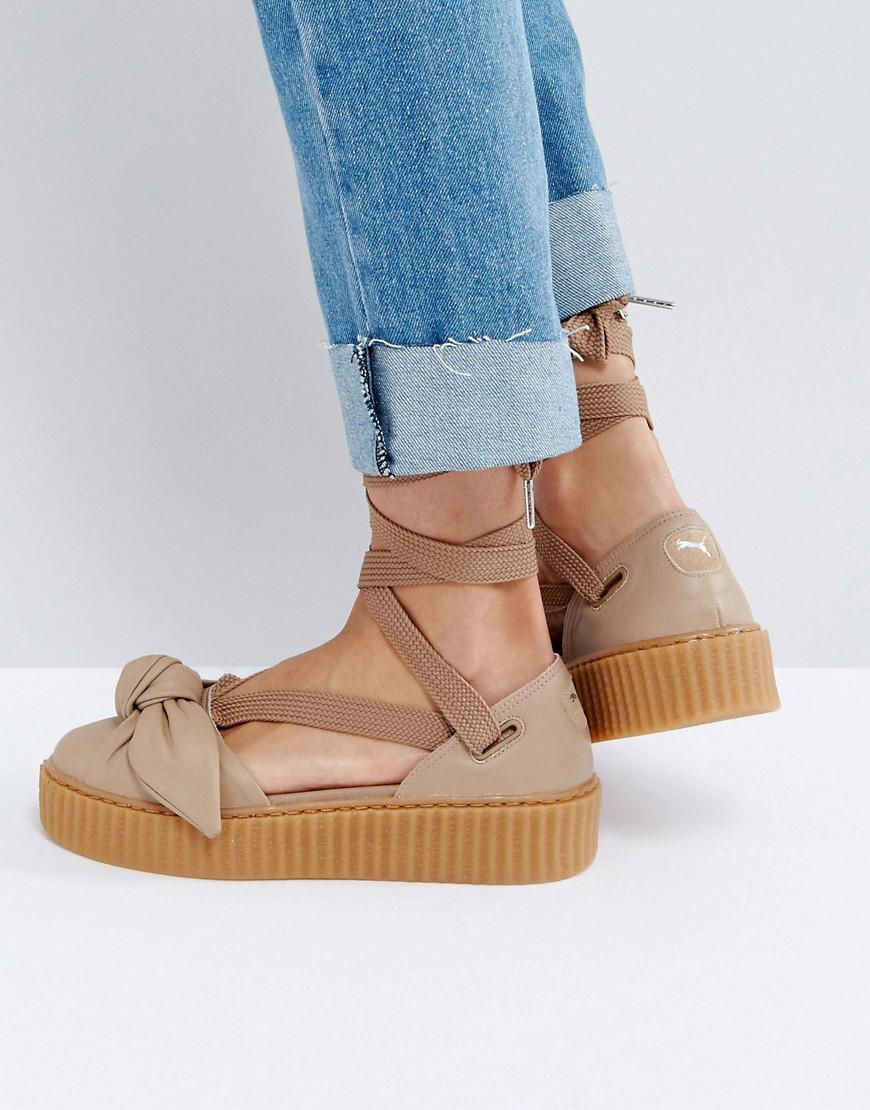 save off 66ed4 a3894 PUMA X Fenty Bow Creeper Sole Sandal in Natural - Lyst