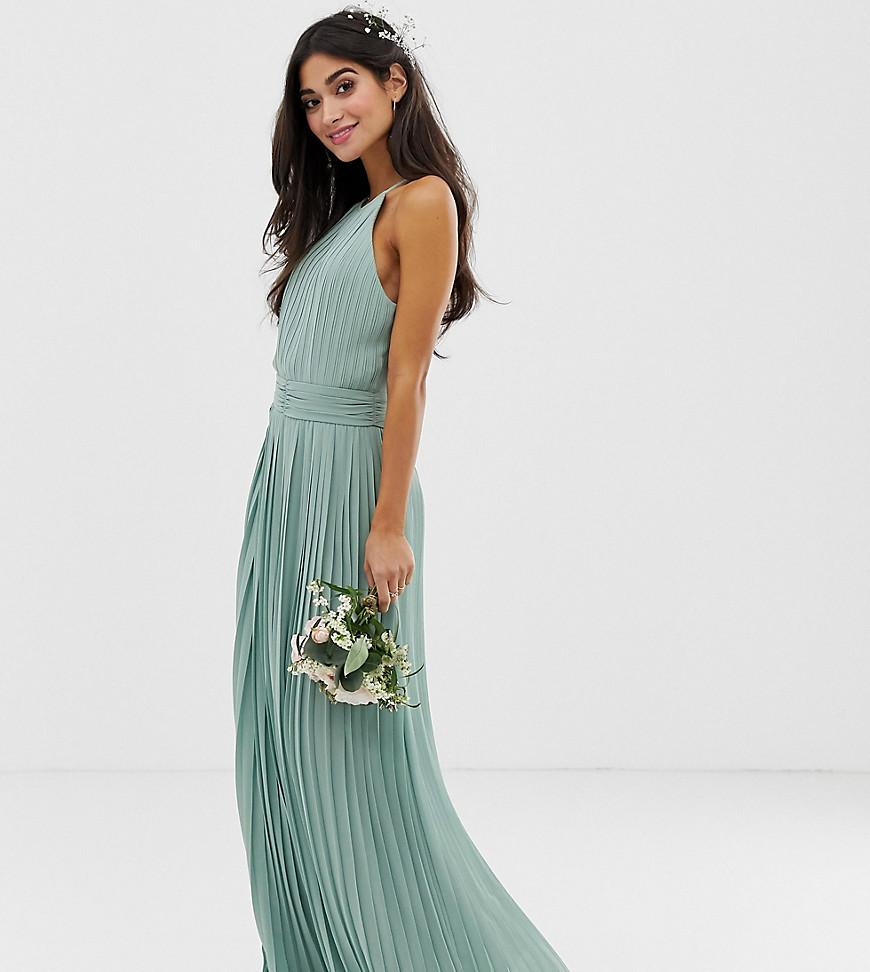 0f7f61b6d0 TFNC London - Green Bridesmaid Exclusive High Neck Pleated Maxi Dress In  Sage - Lyst. View fullscreen
