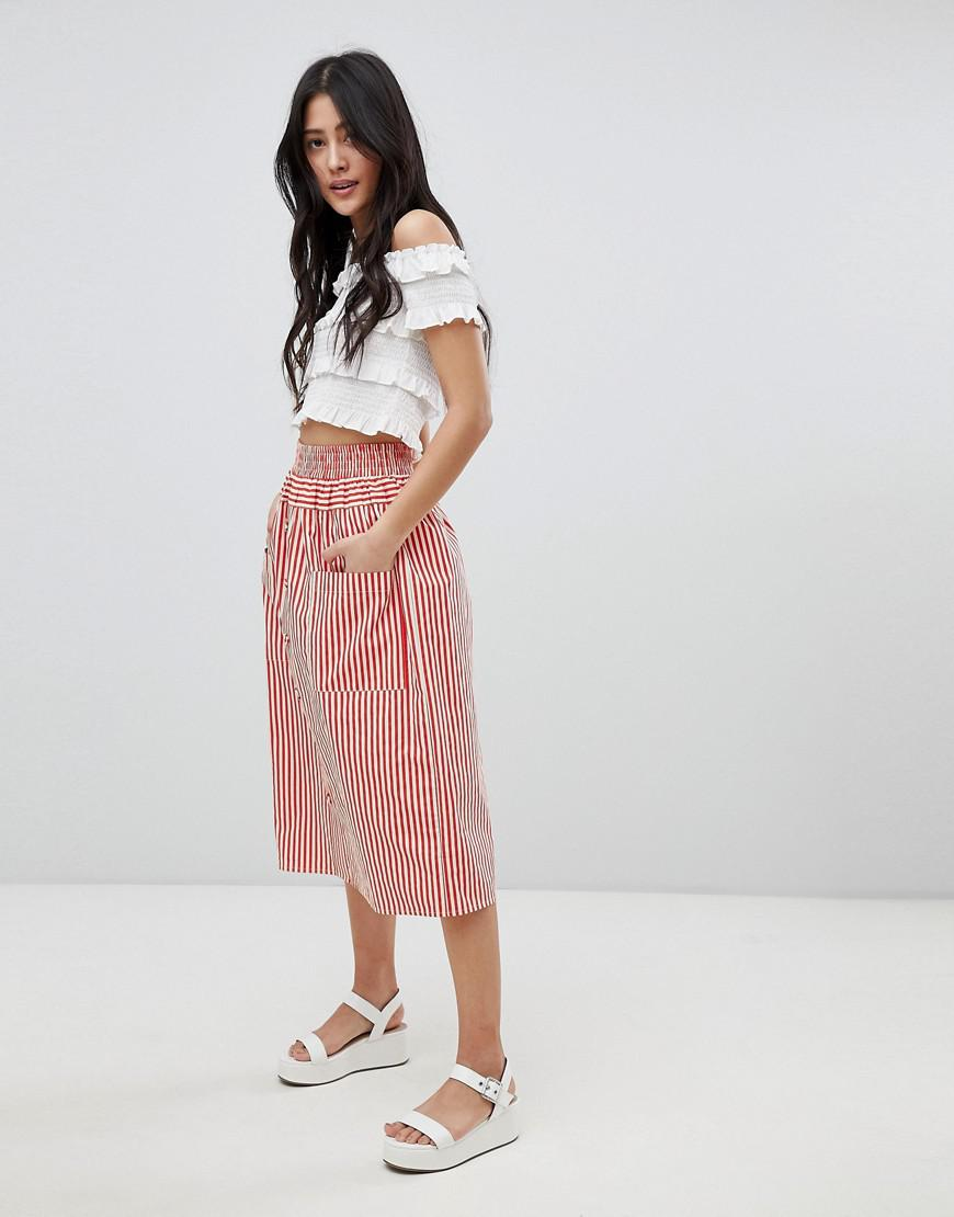 ad0e373aa6 ASOS Cotton Midi Skirt With Button Front In Stripe in Red - Lyst