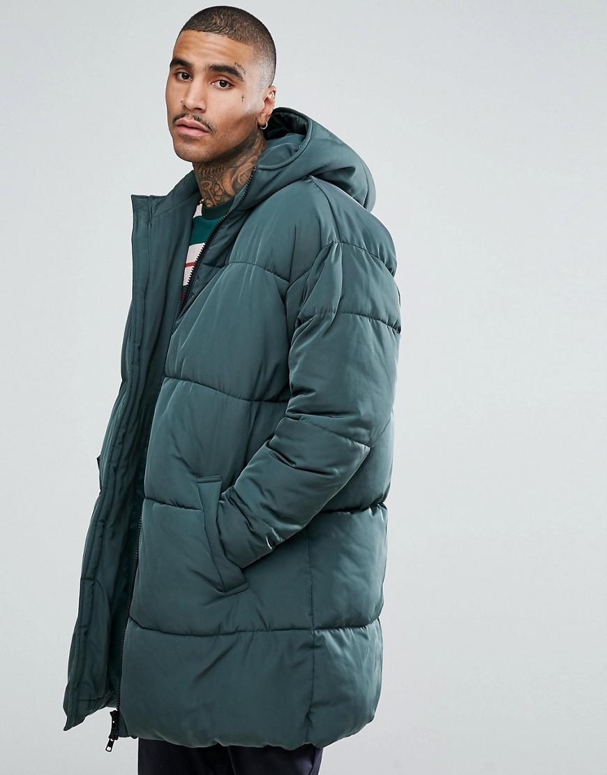 Oversized Puffer Jacket With Hood In Green