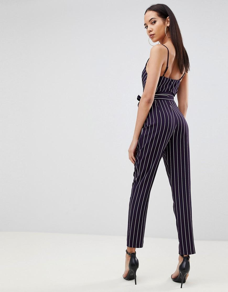 a7b6b99256a Lyst - ASOS Asos Design Tall Wrap Jumpsuit With Self Belt In Navy Stripe in  Blue