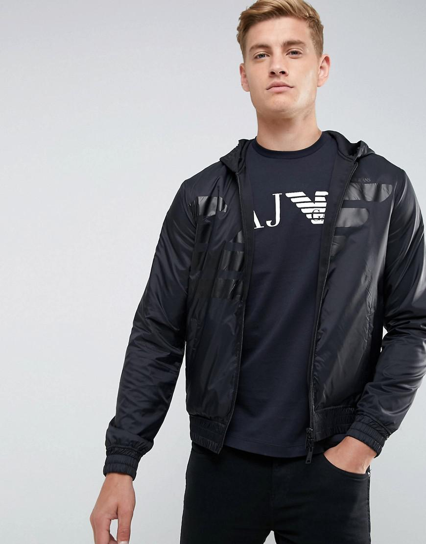 Armani Jeans Mixed Fabric Large Eagle Zip Through Hooded Sweat in ... b7c714a31cd4