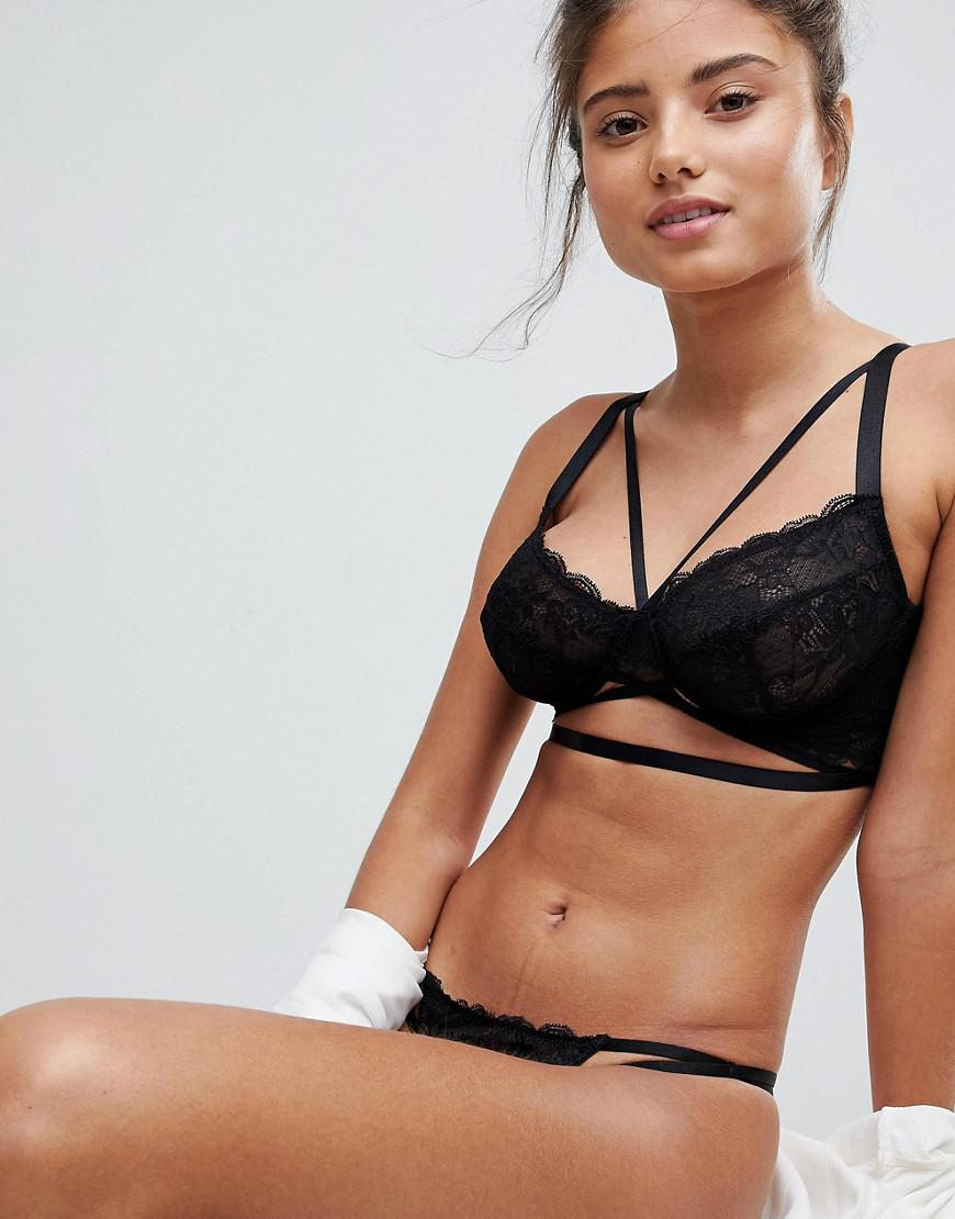 095d52f622 ASOS Asos Fuller Bust Becca Strappy Lace Underwire Bra in Black - Lyst