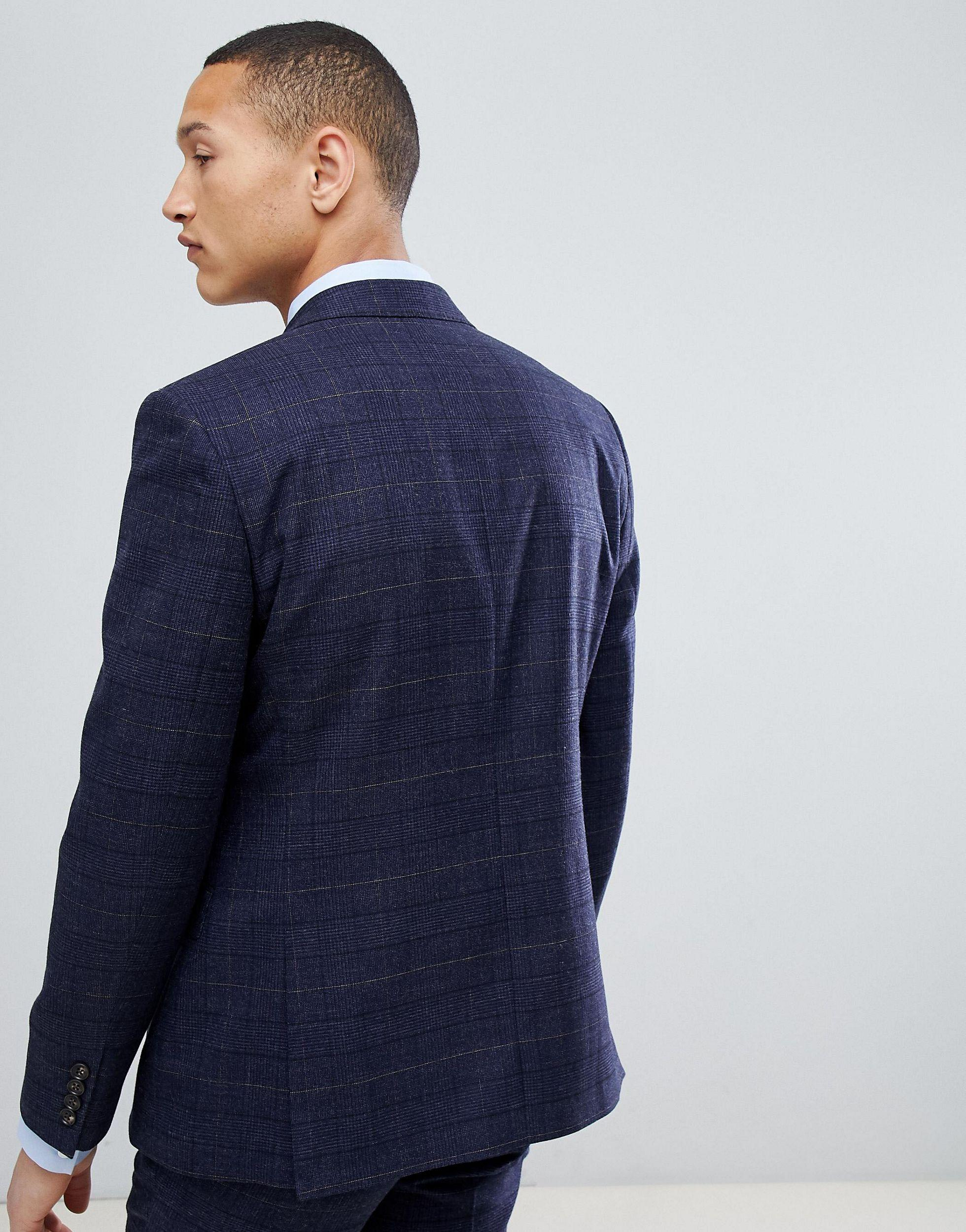 Moss Bros Moss London Wedding Skinny Suit Jacket in Navy (Blue) for Men