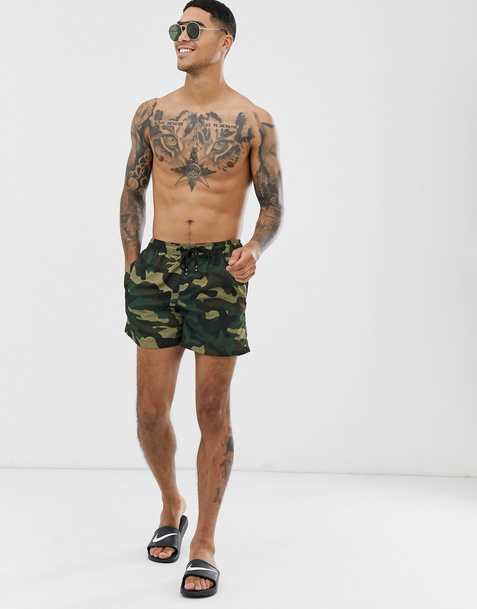 Jack & Jones Denim Intelligence - Zwemshort Met Camouflageprint in het Groen voor heren