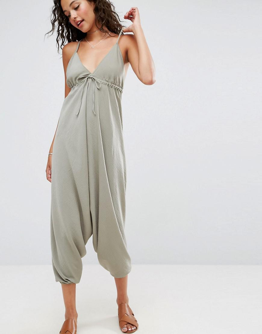 634a76f726 Asos Halterneck Jumpsuit With Drop Crotch in Green - Lyst
