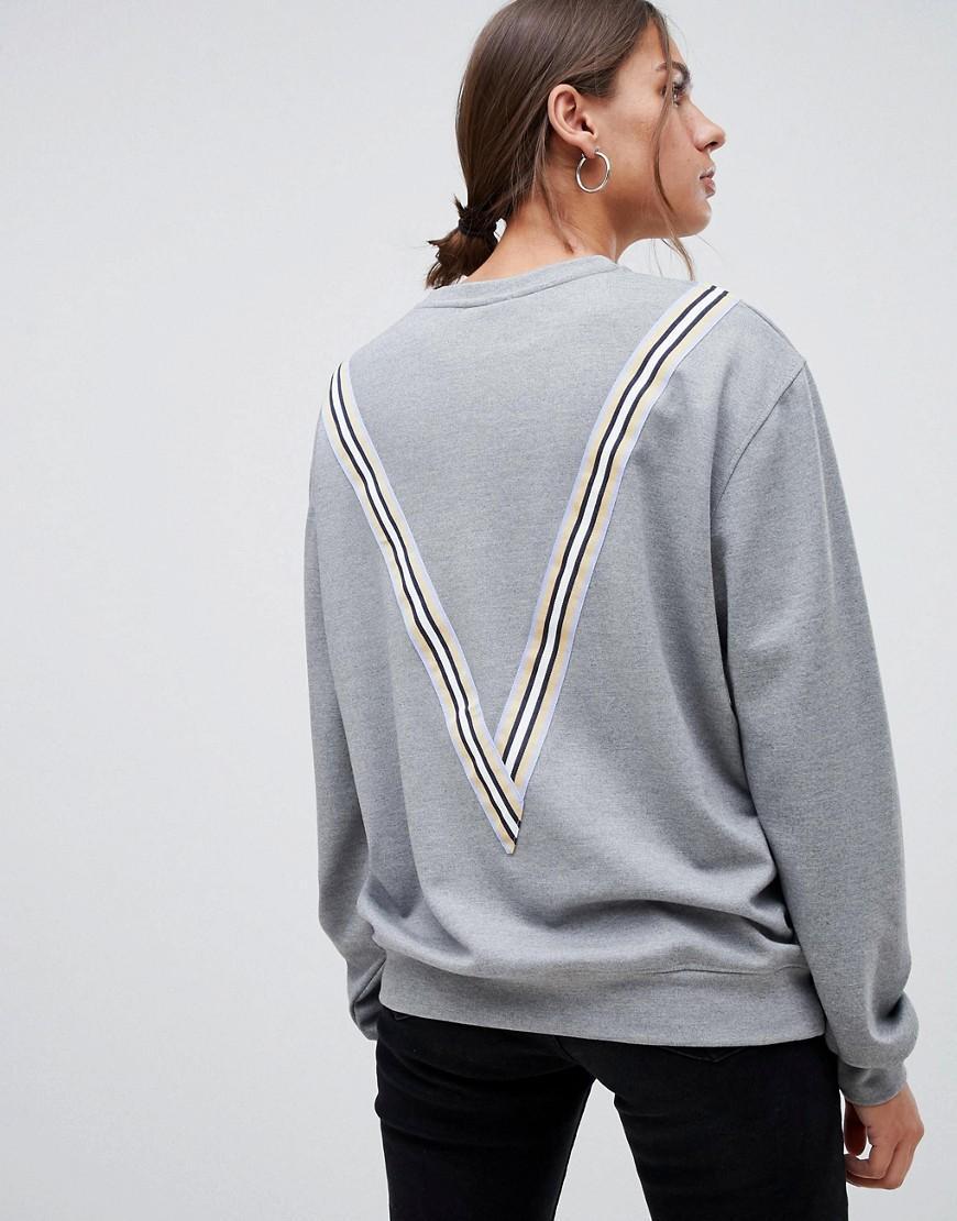 Sweat-shirt à rayures style sport Minimum en coloris Gris
