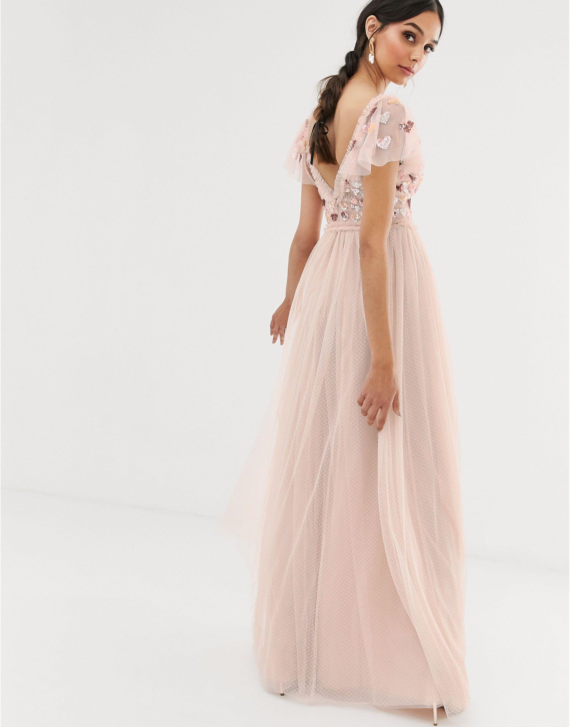 Love - Robe longue à motif cœur - thé Dentelle Needle & Thread en coloris Rose