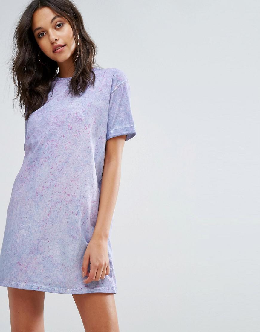 eb29fa8224741 Missguided Tie Dye Oversized T-shirt Dress in Purple - Lyst