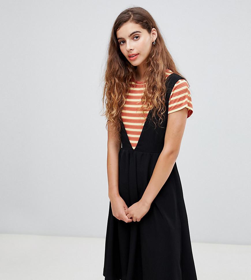 Encolure Chasuble Longue Robe Coloris En Noir À V Monki Black Mi hrdtsCQ