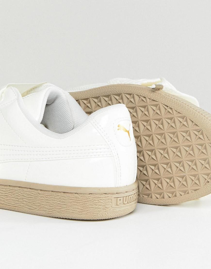 PUMA Suede Heart Satin Trainer in White - Lyst 5f93b5f90