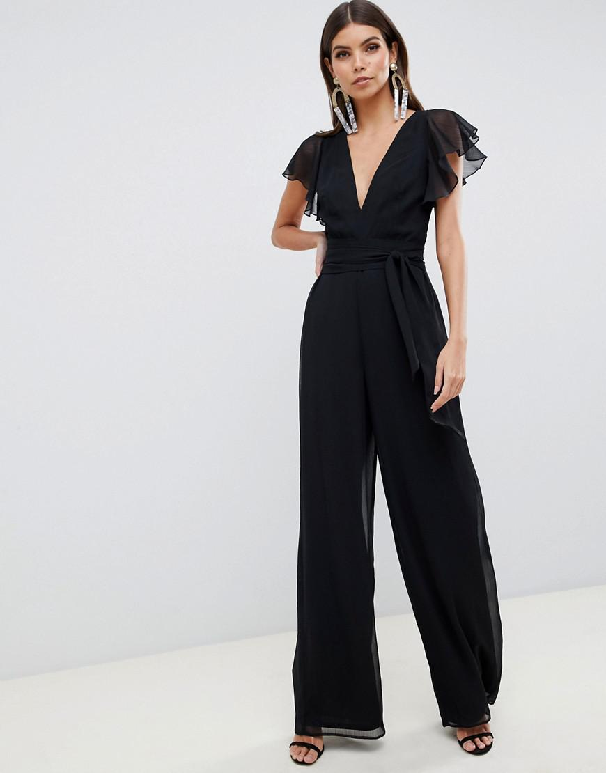 2458c6d612b3 Lyst - ASOS Flutter Sleeve Jumpsuit in Black