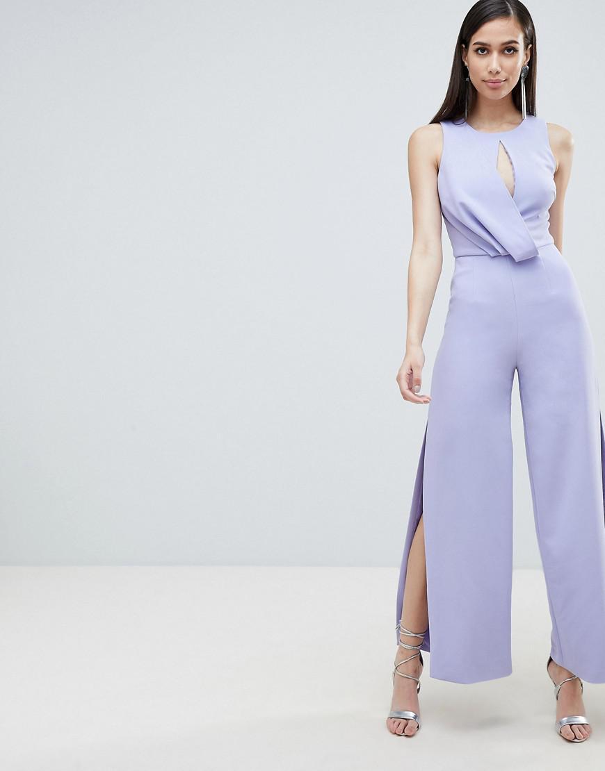 7c5a97085222 Lavish Alice Draped Asymmetric Wide Leg Jumspuit in Blue - Lyst
