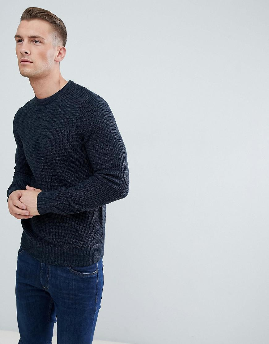 86324e18245 New Look Waffle Knit Sweater In Navy in Blue for Men - Lyst