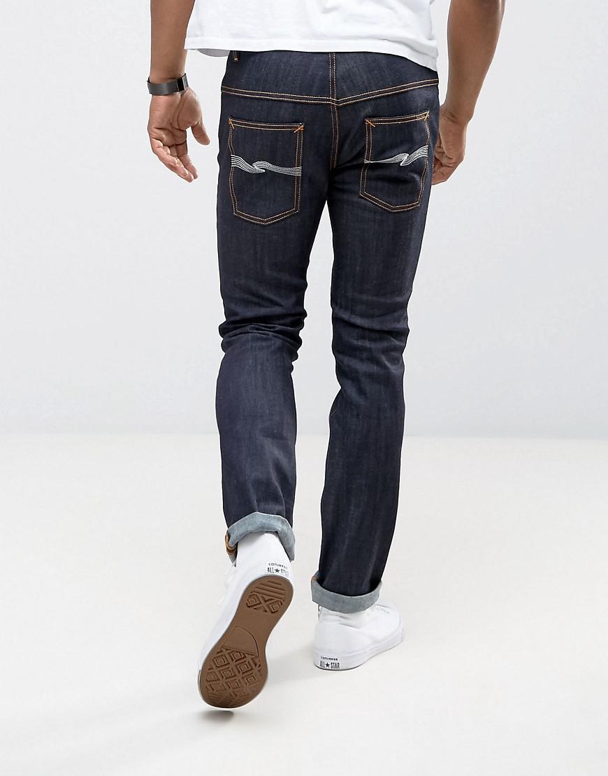 Nudie Jeans Denim Tall Ecru Embro Thin Finn Slim Fit Jeans In Organic Dry in Blue for Men