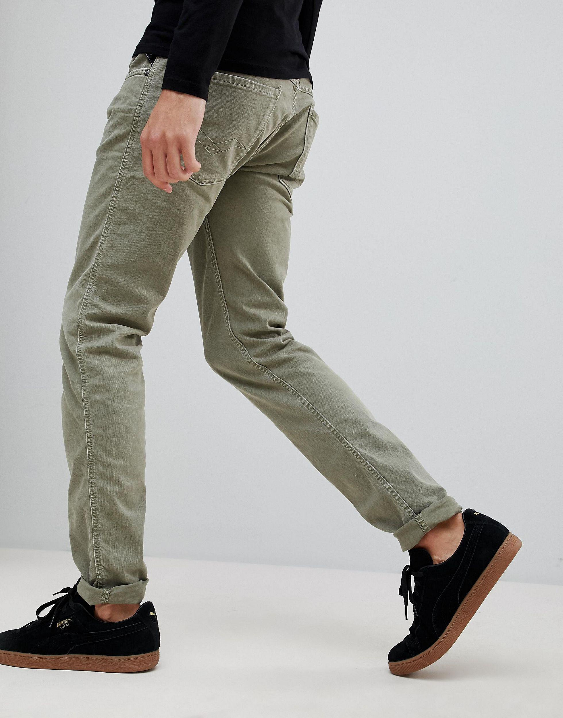 Replay Denim Anbass Slim Jeans in Green for Men