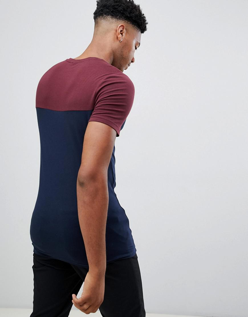 6f45e5fe6 Lyst - ASOS Tall Muscle Fit T-shirt With Contrast Yoke 2 Pack Save in Blue  for Men