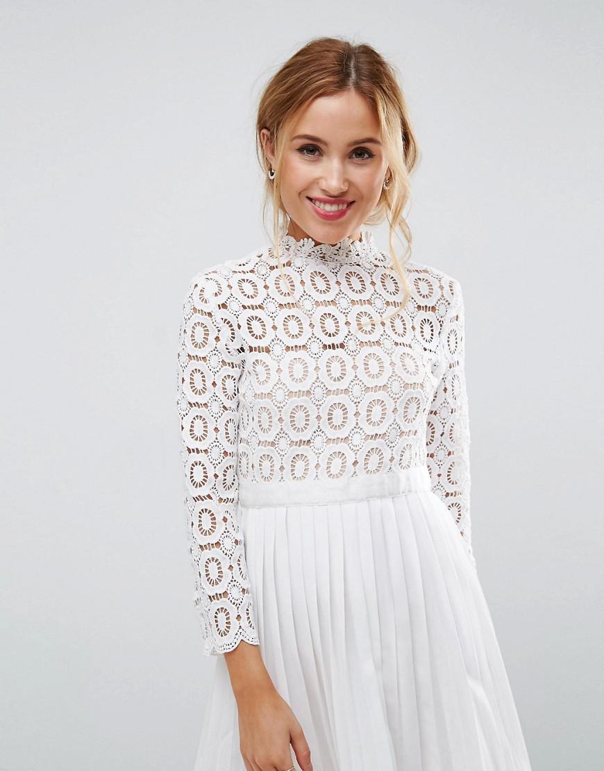 68105aea6 Little Mistress 3/4 Sleeve Lace Top Pleated Mini Dress in White - Lyst