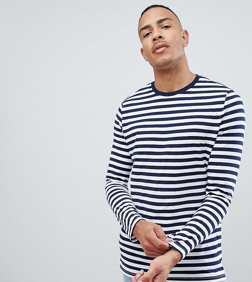 0f2bda696a Lyst - ASOS Tall Stripe Long Sleeve T-shirt In Navy And White in ...