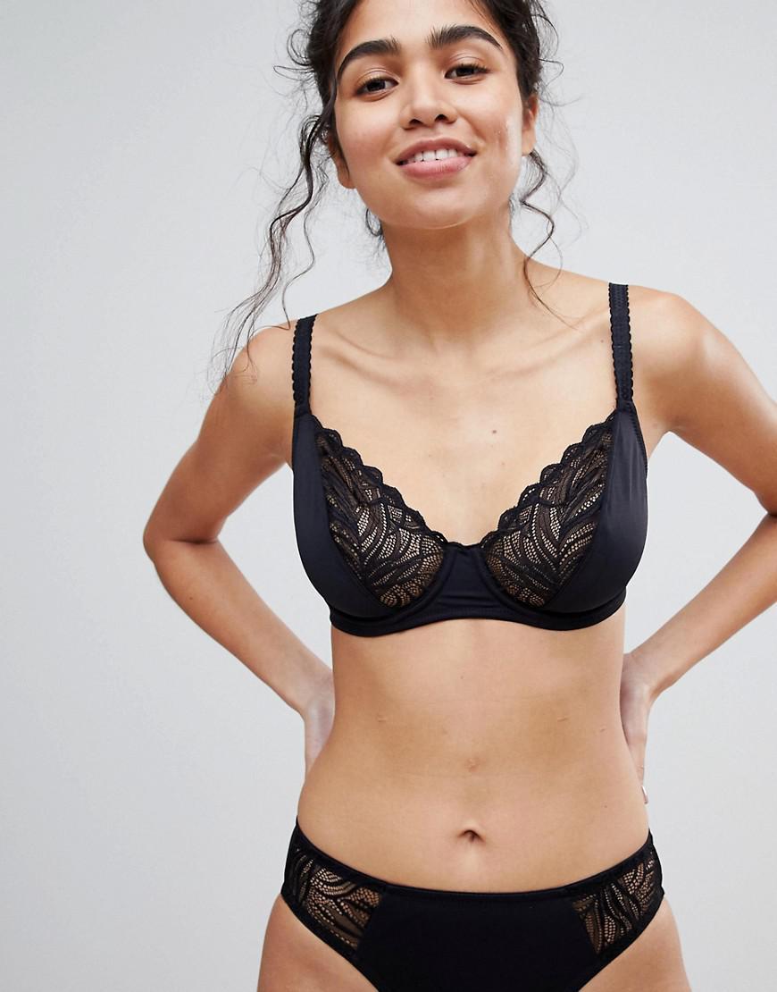 Underwired Lace Trim Bra - Black Dorina Visit New For Sale Sast j0BHhEIX