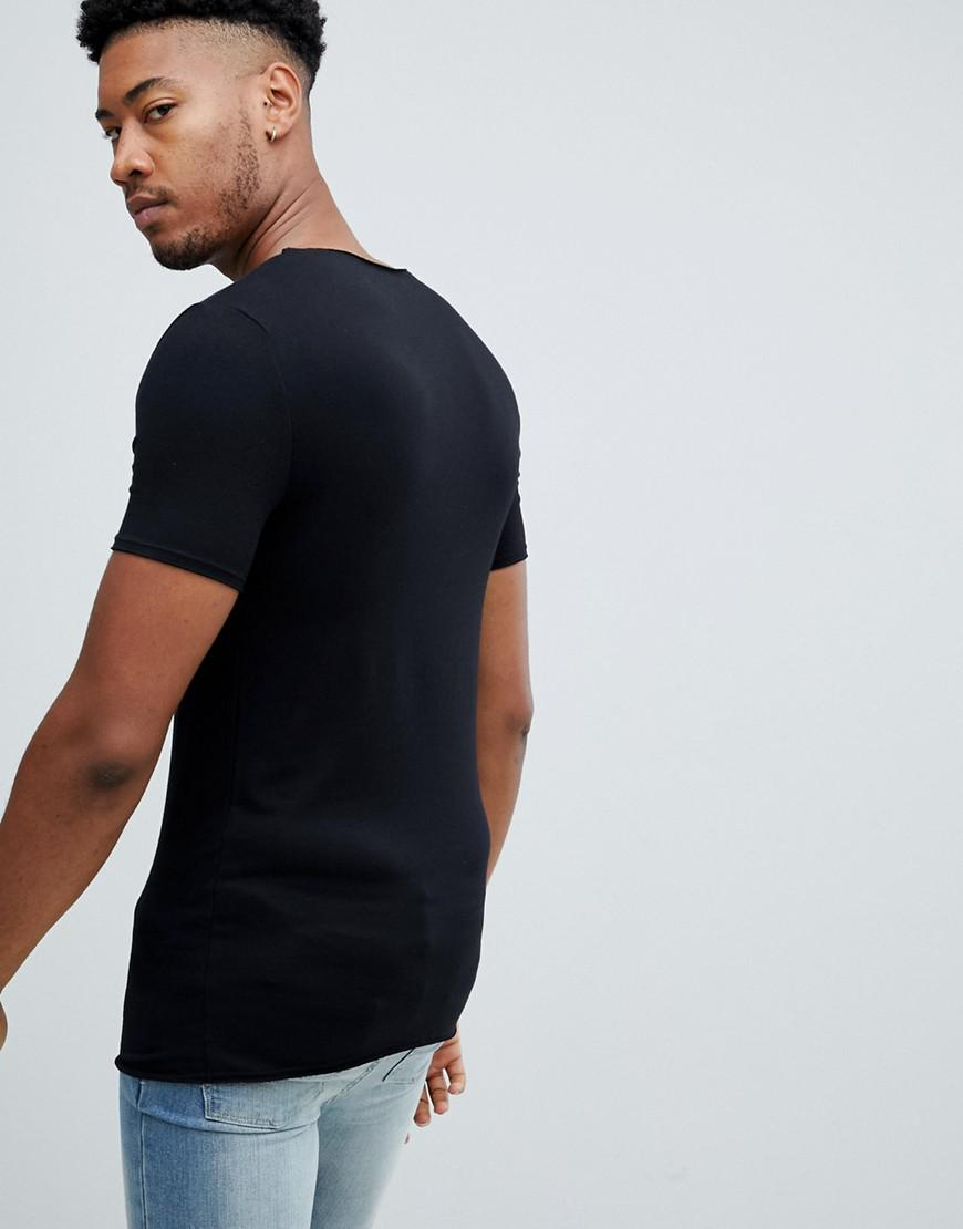 96a5796f035d3 Lyst - ASOS Tall Muscle Fit T-shirt With Raw Notch Neck In Black in Black  for Men