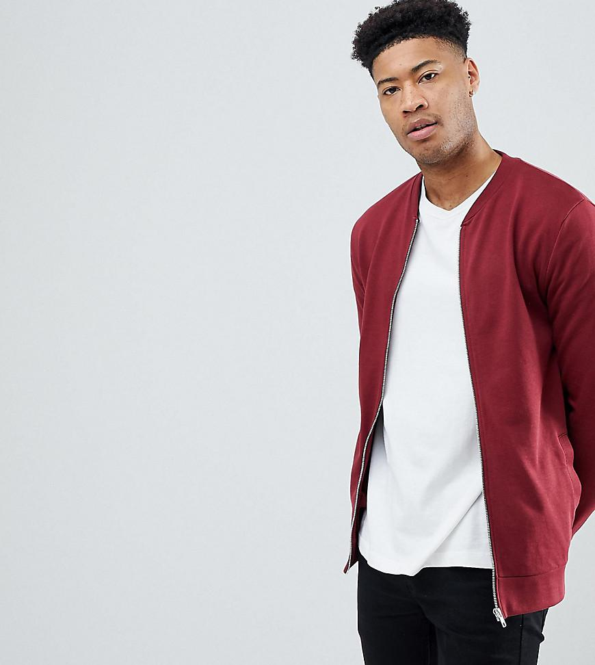 362a305de ASOS Tall Jersey Bomber Jacket In Burgundy in Red for Men - Lyst