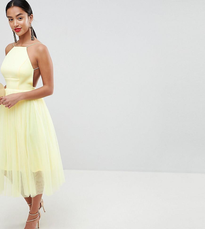 12387568c Vestido midi de neopreno estilo pichi con tul de ASOS DESIGN Petite Premium  ASOS de color Yellow