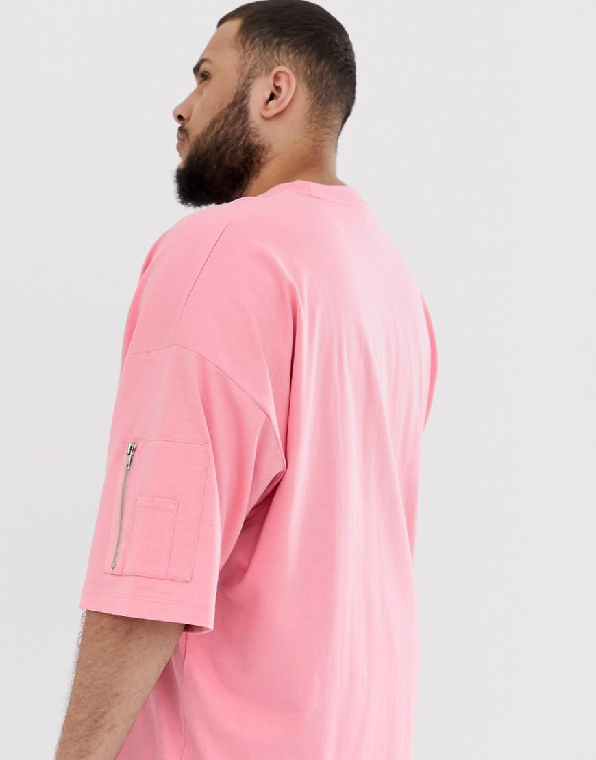 e1f7b1dc ASOS Plus Oversized Longline T-shirt With Ma1 Pocket In Pink in Pink for Men  - Lyst