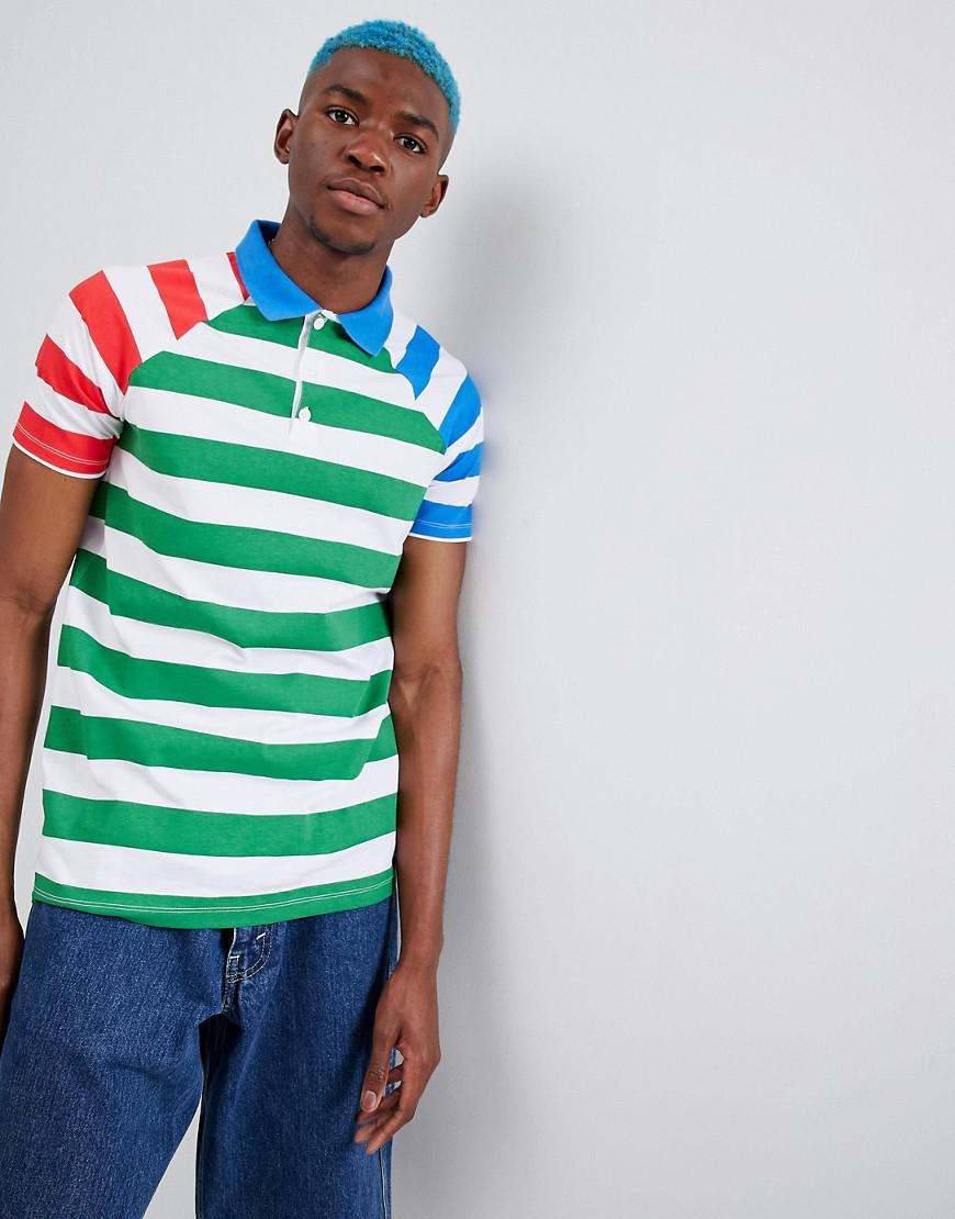 8bdea03b Asos Design Stripe Polo With Contrast Sleeves in Blue for Men - Lyst