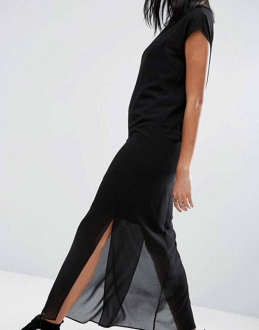 Asos Synthetic Sheer T Shirt Maxi Dress With Side Splits