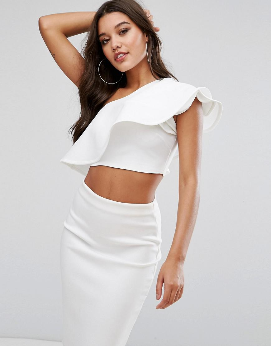 8fddb397b85 Club L One Shoulder Ruffle Structured Detail Top in White - Lyst