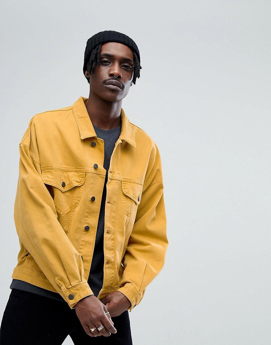 Lyst Asos Oversized Denim Jacket In Mustard In Yellow For Men