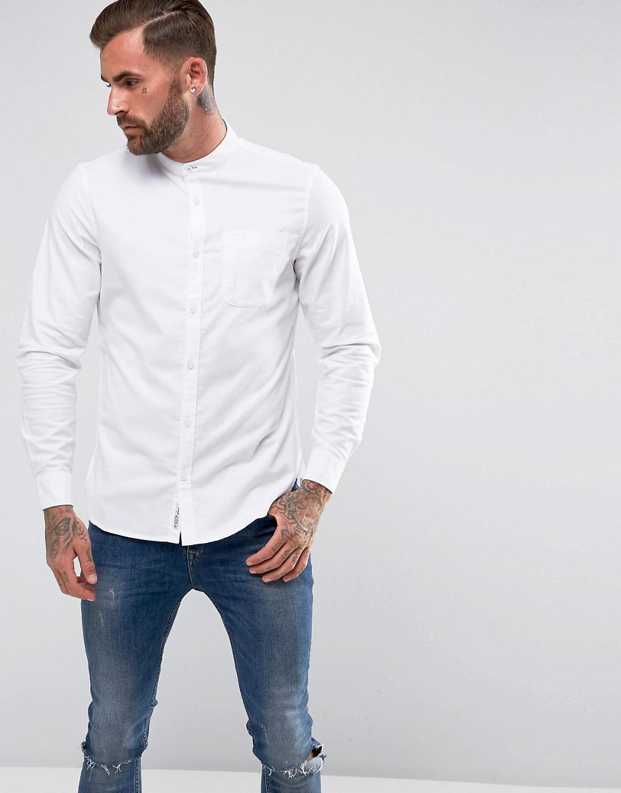 Original penguin collarless heritage slim fit shirt oxford for Collarless white shirt slim fit