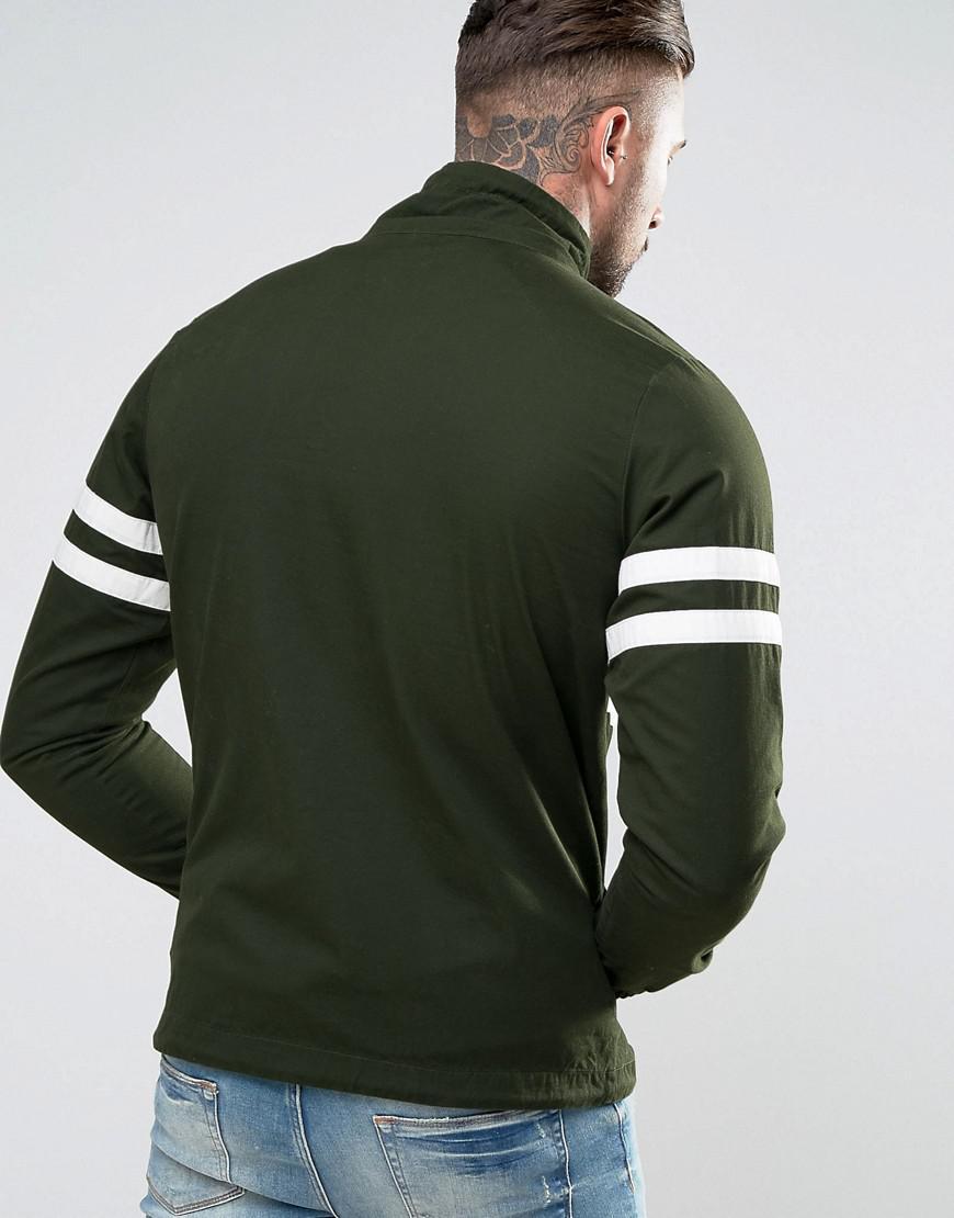 Ellesse Cotton Jacket With Turtleneck in Green for Men