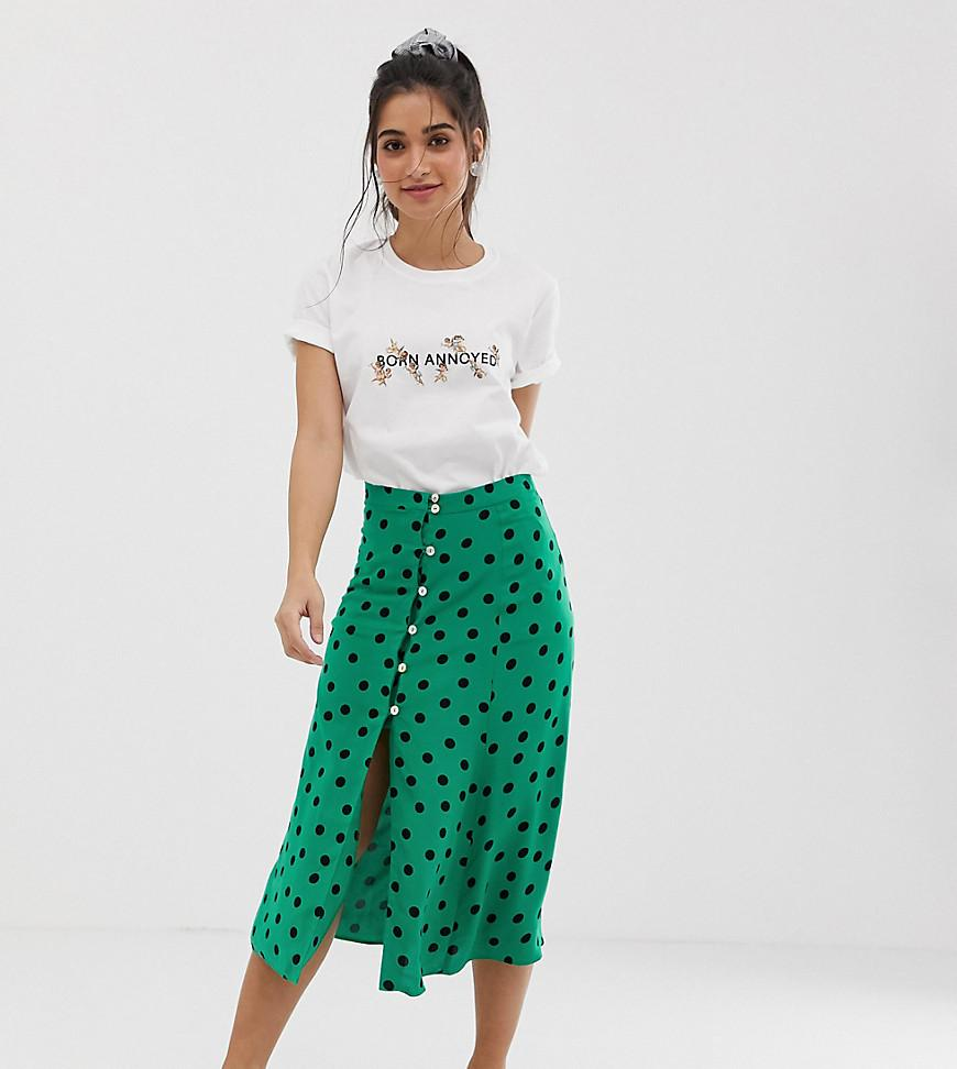 Lyst - Miss Selfridge Petite Midi Skirt In Polka Dot in Green 014127f48