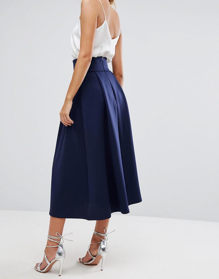 3d3f6362e6 ASOS High Waisted Scuba Midaxi Prom Skirt in Blue - Lyst
