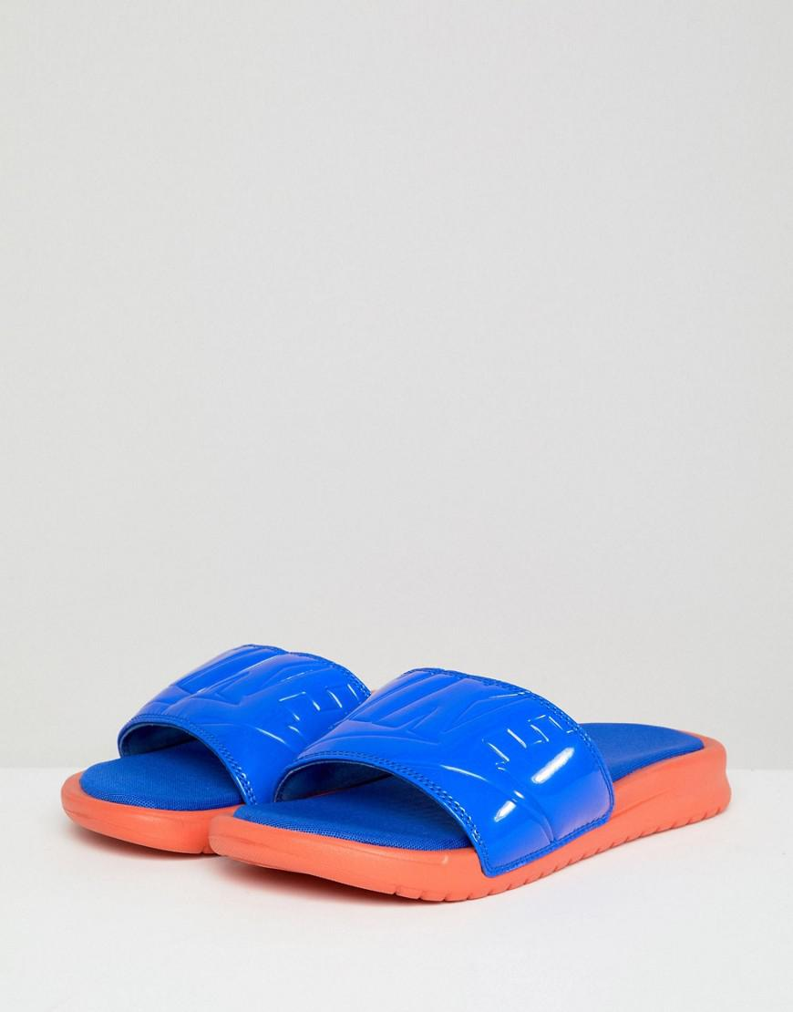 bfa451f6e55e Nike Benassi Ultra Luxe Slders In Blue in Yellow - Lyst