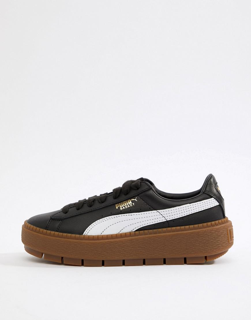 new products 617c9 6f722 PUMA Platform Trace Sneakers In Black With Gum Sole in White ...