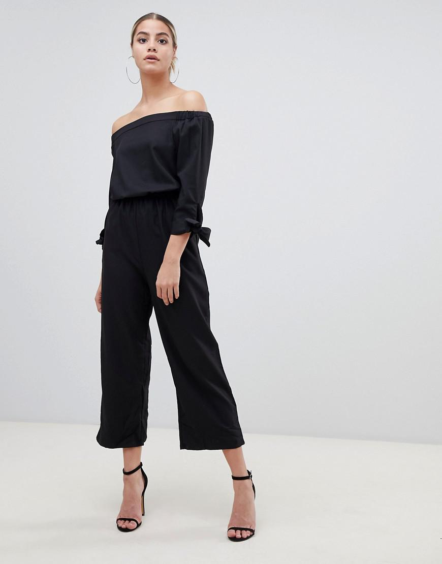 c5b4997ada1 Lyst - Boohoo Bardot Wide Leg Culotte Jumpsuit In Black in Black