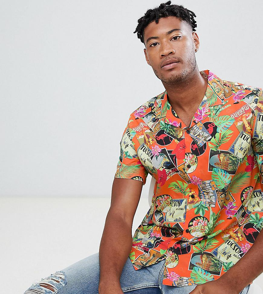 eecc5d54c Lyst - ASOS Tall Oversized Tropical Postcard Printed Shirt In Red ...